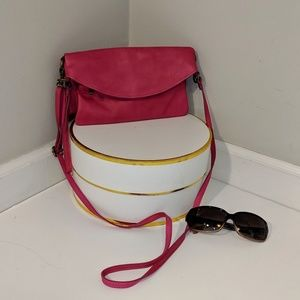 Leather Hot Pink Crossbody Made in Italy Bag